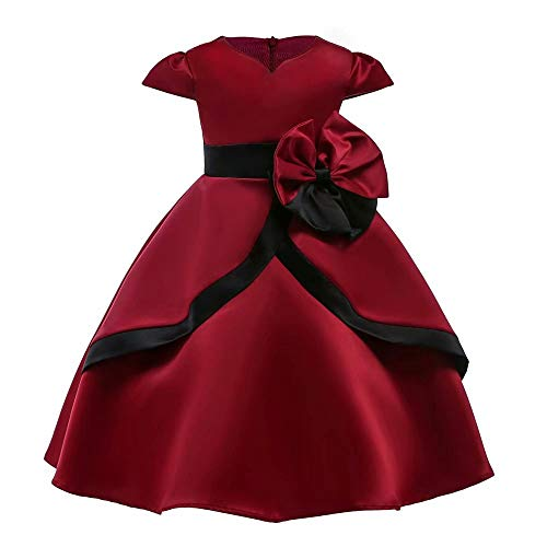 AYOMIS Girl's Party Xmas Dress Wedding Porm Flower Casual Tutu Christmas Red Dresses(Burgundy-2672 ()
