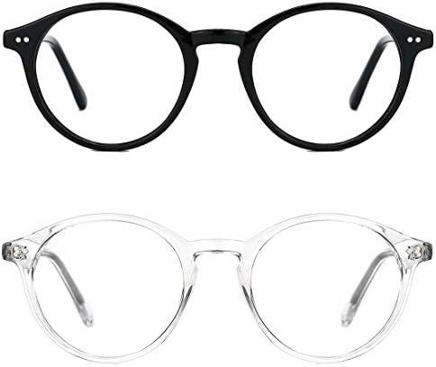 TIJN Blue Light Blocking Classic Round Non-prescription Frosted Eyeglasses Frame