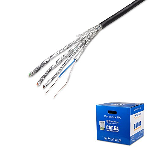 [UL Listed] Cable Matters In-Wall Rated (CM) Bare Copper Cat 6a / Cat6a Bulk Cable in Black - SSTP/SFTP Shielded Ethernet Cable 1000 Feet