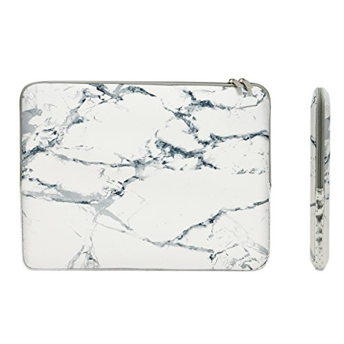 TOP CASE - White Marble Pattern Zipper Sleeve Bag Case Compatible with All Laptop 11