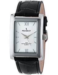 Peugeot Mens 2033SL Silver-Tone Black Leather Strap and Silver Dial Watch