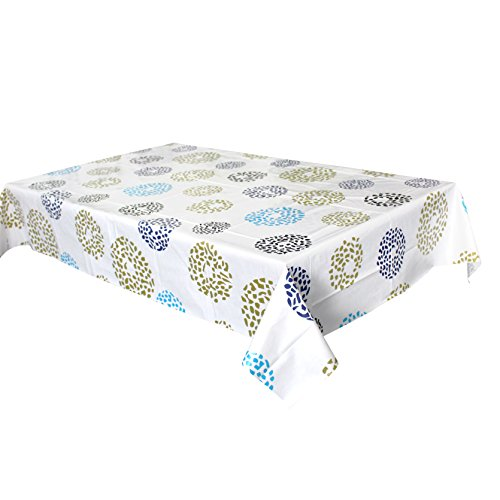 Lavin Tablecloth PVC Wipe Clean Table Cloth Waterproof Oil Cloth Heavy Duty Vinyl Table Cover Rectangle Oilproof Satin-resistant Home Decoration (Dots, 55x79 inch, 140x200 cm) ()