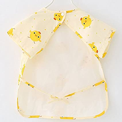 Zooarts 1-2 Years Babero unisex de manga corta impermeable para beb/és de 1 a 5T amarillo amarillo Talla:80