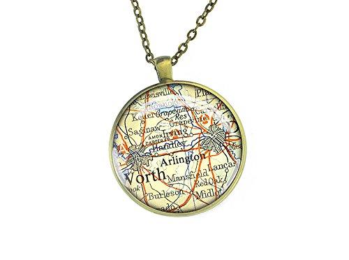 Handmade meaningful necklace - 1952 Arlington map pendant - best gift ideas