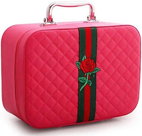 化粧品収納ボックス ポータブル化粧品収納ボックス多機能収納ボックス大容量収納ボックス革素材金属製ハンドル GHMOZ (Color : B)