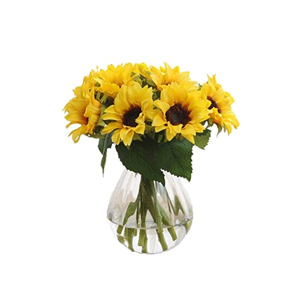 Crt Gucy 6 Pcs Artificial Sunflowers Bouquet For Home Hotel Office Decoration