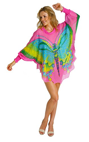 Silk Cocoon Women Tunic Tops Hand Painted Butterflies with Crystals - Pure Silk E23 Hot Pink Medium