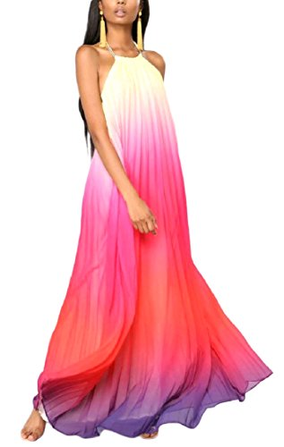 Halter Red Coolred Chiffon Maxi Dress Ball Backless Women Neck Gown Stylish Beach Dye Tie OwOqfxz