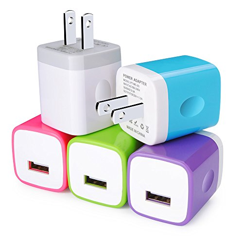 Wall Charger, Kakaly 5-Pack Universal Home Travel USB 1 Amp Wall Charger AC Power Charging Adapter Plug Compatible with iPhone 7/6/6S Plus, 4, 5S Samsung Galaxy, HTC, LG, Huawei, Google Nexus, Android
