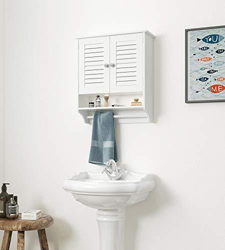 (Spirich Home Bathroom Two-Door Wall Cabinet with Towel Bar, Bathroom Storage Cabinet with Louver Door,Wall Cabinet w/Open Cubby, Adjustable Shelf, Double Doors, White)