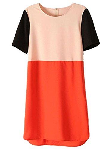 sheinside® Mujer vestido de manga corta, color naranja/rojo/negro aprikosenfarben small