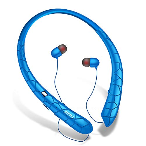 Bluetooth Headphones Wireless Retractable Headset Neckband Stereo Earbuds in Ear Sweatproof Noise Cancelling Earphones with Mic (Blue)