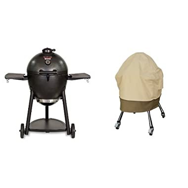 Char-Griller 16620 Akorn Kamado Kooker Charcoal Barbecue Grill and Smoker, Black with Classic Accessories Cover
