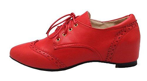 Tacco Luccichio Allacciare Rosso Chiusa Flats Basso Donna VogueZone009 Punta Ballet 4YOqwIYc5