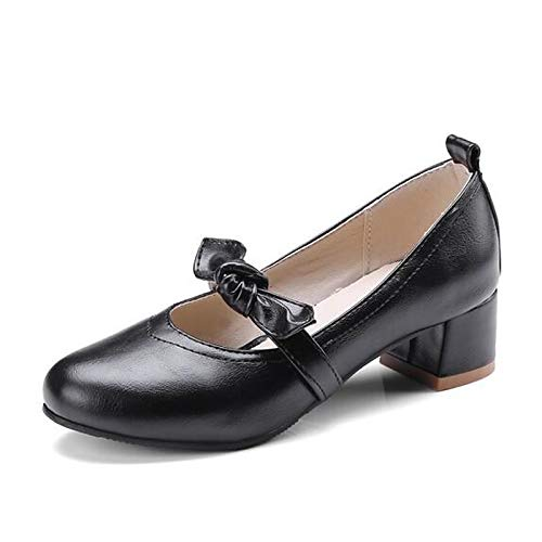 PU Almond Mujer Black Poliuretano Brown Heel Chunky ZHZNVX Spring Tacones Pump Zapatos Black Basic de Tn6OqwEtxU