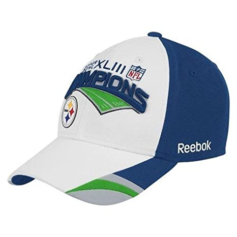 d05c27408cc Amazon.com   Reebok Pittsburgh Steelers Super Bowl Xliii Champions Locker  Room Hat Size  One Size Fits All   Sports Fan Baseball Caps   Sports    Outdoors