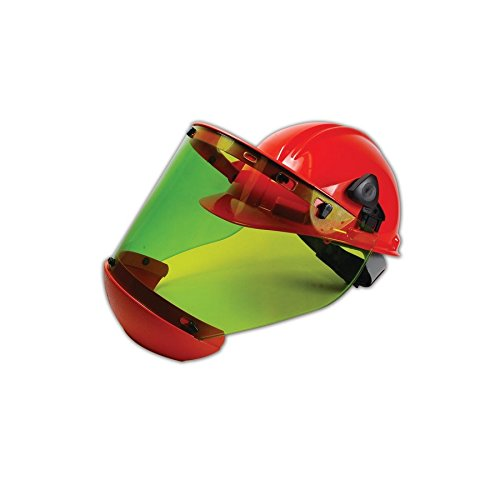 (Salisbury by Honeywell Pro-Shield Orange Hard Hat and Greent Tinted Face Shield Combo with Chin Cup (7.5