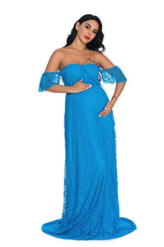 ZIUMUDY Photography Maternity Dress Off Shoulder Lace Baby Shower Pregnant Wedding Dress (Turquoise, Large)]()