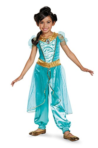 Jasmine Deluxe Disney Princess Aladdin Costume, Medium/7-8
