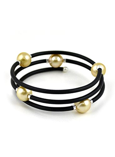 UNIQUE-UNISEX-GOLDEN-SOUTH-SEA-AND-AKOYA-CULTURED-PEARL-WRAP-AROUND-BANGLE-BRACELET