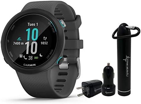 Garmin Swim 2 GPS Swimming Smartwatch with Wearable4U Power Pack Bundle Slate
