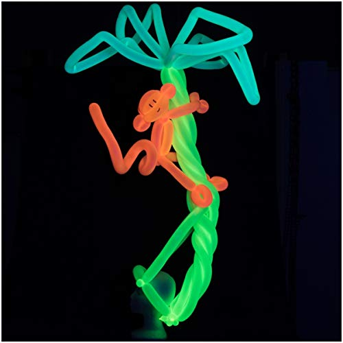 Glow King 75pc UV Blacklight Reactive Fluorescent Neon Balloons for Tying Balloon Animals / Decorating (PUMP NOT INCLUDED) ()