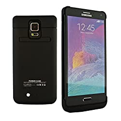 Samsung Galaxy Note 4 Battery Charger Case, 4800 mAH Rechargeable Back-Up Battery Case with Integrated Media Kickstand by Phone Charger Case (Black Color)