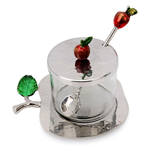 Classic Touch Décor Apple Shaped Vessel and Tray Stainless Steel Honey Jar With Spoon In Silver