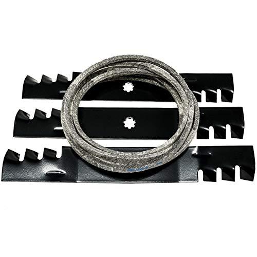 "48"" Deck Belt Made with Kevlar & Mulching Blade Kit for John Deere D140 D150 LA130 LA140 LA145"