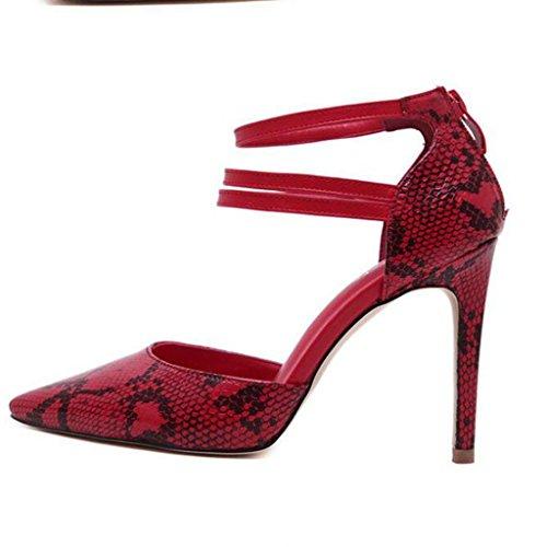 W&LM Sra Tacones altos Cuero Propina Ultra Tacones altos De acuerdo Sandalias Vacío Hebilla Antideslizante Zapato Red