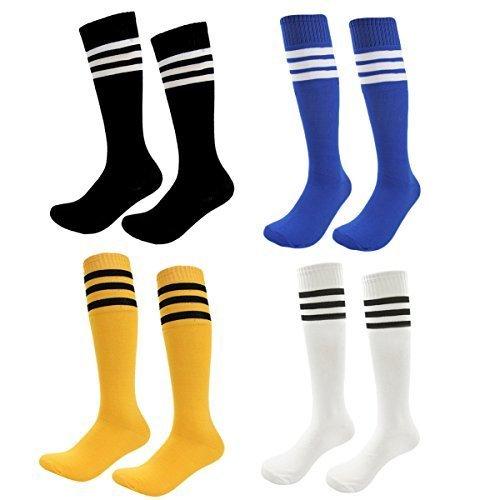 Kids Soccer Socks 4 Pack Boys Girls Cotton Team Socks Teens Children Soccer Socks (Shoe size 1-5 and Ages 8-11, Rainbow2) by FOMANN
