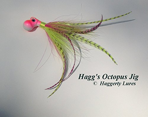 Octopus Bucktail Jig-Cobia-Pink Chartreuse-Saltwater Lure