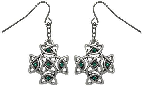Jewelry Trends Celtic Cross Pewter Dangle Earrings with Green Rhinestones