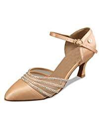 Minitoo TH009 Women's 3 Inch Heel Satin Latin Salsa Ballroom Dance Shoes
