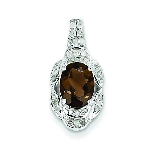 Argent Sterling diamant et Quartz fumé pendentif ovale JewelryWeb