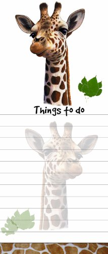 ''Giraffe Magnetic List Pads'' Uniquely Shaped Sticky Notepad Measures 8.5 by 3.5 Inches by E&S Pets