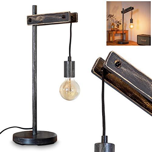 Tafellamp Aarhus donker houten touw metaal zwart retro bureaulamp met kabelschakelaar voor 1 x E27 max. 60 watt…