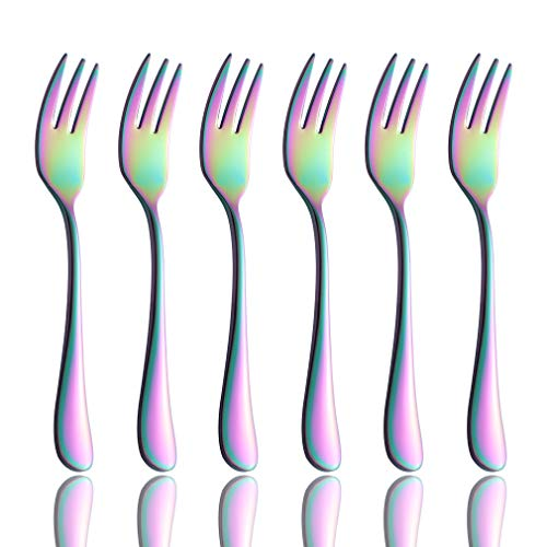 - Onlycooker Rainbow Oyster Cocktail Fork Set 6 Piece Flatware 18/10 Stainless Steel 5.5-inch Small Appetizers Cake Forks Service for 6 Multicolor Silverware Sets Mirror Polished