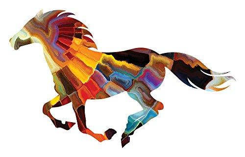 Mayan Sun Running Horse (Metal Sculpture Horse)