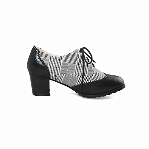 Lace Black Women's Chunky Shoes Oxford up Heel Latasa Plaid wRUxqUC