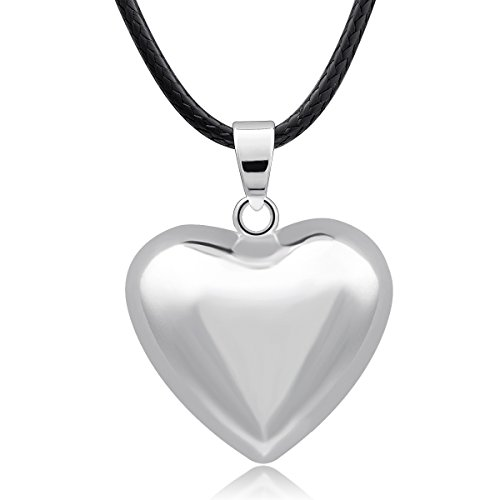 "EUDORA Harmony Bola Silver Tone Heart Necklace Pregnancy Pendant Prayer Bell, 45"" Wax Chain"