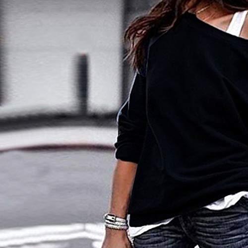 Tops Pulóver Otoño Colores De Moda Blusa Sudaderas Primavera Larga Jumpers Oblicuo T Manga Casual Negro Mujeres Hombro shirt Lisos Sweatshirt Jerseys gZwdqYA