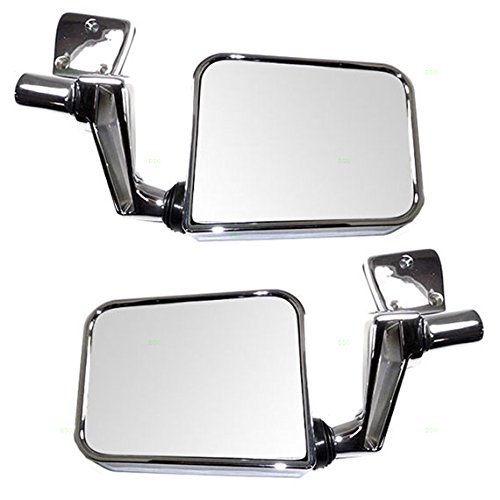 Driver and Passenger Manual Side View Mirrors Chrome Door Hinge Mounted Performance Upgrade Replacement for Jeep SUV CH1320189 CH1321189 (Mirror Drivers Manual Mounted Door)