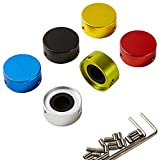 """SOLUTEK Pedal Footswitch Topper with 3 Screws and Rubber Insert Fit Tightly on common pedal switches(3/8""""10mm) Red Silver Black Gold Blue Green 6 Pack"""