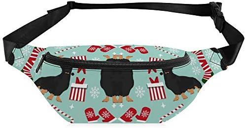ダックスフント犬クリスマス生地-ダックスフンド生地、クリスマス犬生地、休日の生地-黒と黄褐色ダックスフント-青 ウエストバッグ ショルダーバッグチェストバッグ ヒップバッグ 多機能 防水 軽量 スポーツアウトドアクロスボディバッグユニセックスピクニック小旅行