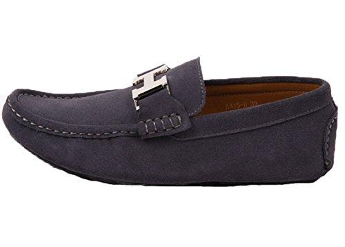Santimon Hommes En Cuir Slip-on Décontracté Boucle Mocassins Conduite Chaussures De Voiture Moc Chaussures Gris