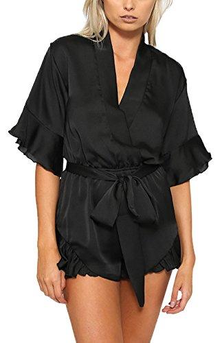 Donna Tutine Intere Moda Lato Foglia di Loto Rompers V Collo Mezza Manica Monopezzi con Bende Nero