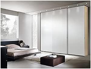 Arosio Bernardel – Armario 3 Puertas correderas (tamburato con Estructura de Fresno Live y Puertas Lacado Blanco Nieve. Vero Madera, cm 306 x 262 x 62/65: Amazon.es: Hogar