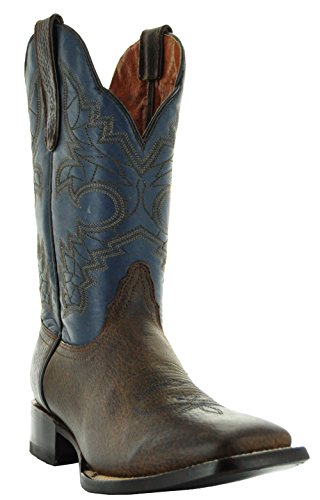 Soto Boots Two-Tone Men's Leather Cowboy Boots (9.5, Brown/Blue)