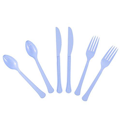 JAM PAPER Premium Extra Heavy Weight Cutlery - Assorted Utensils Set - Light Blue - 24 Disposable Utensils/Box